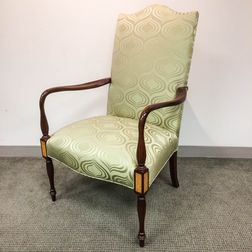 Federal-style Inlaid Mahogany Upholstered Lolling Chair