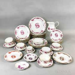 Thirty-nine Pieces of Meissen Pink Dragon and Bird Porcelain Tableware.     Estimate $400-600