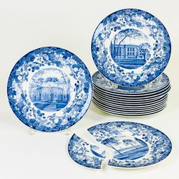 Set of Fifteen Wedgwood Harvard University Blue Transfer-decorated Plates