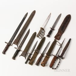 Group of U.S. Military Fighting Knives and Bayonets