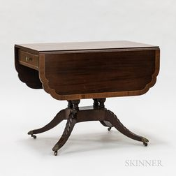 Classical-style Carved and Inlaid Mahogany Drop-leaf Table