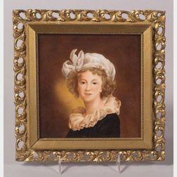 KPM Handpainted Porcelain Plaque after Vigee Le Brun's Self Portrait