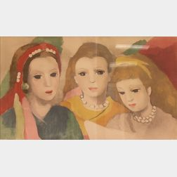 Framed Collotype of Three Girls Attributed to Marie Laurencin (French,   1883-1956)