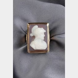 Antique 14kt Rose Gold Hardstone Cameo Ring