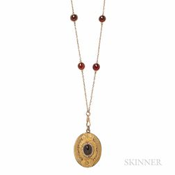 Antique 14kt Gold and Garnet Watch Chain