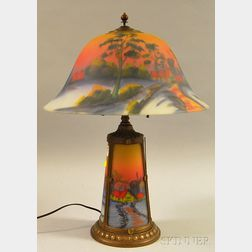 Pittsburgh-type Reverse-painted Windmill-landscape-decorated Glass and Painted   Cast Metal Table Lamp