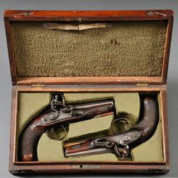 Cased Pair of W. Parker Flintlock Pistols