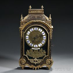 French Gilt-brass Mounted Boulle-style Mantel Clock