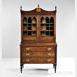 Federal Carved and Inlaid Mahogany Desk Bookcase