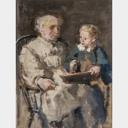 William Christian Symons  (British, 1845-1911)      Old Man and Boy ,   (The Drawing Lesson)