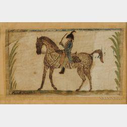 Watercolor Folk Portrait of Militia Cavalry Officer E. Doolittle on Horseback and Trunk