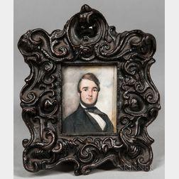 American School, 19th Century      Miniature Portrait of a Man in a Black Jacket