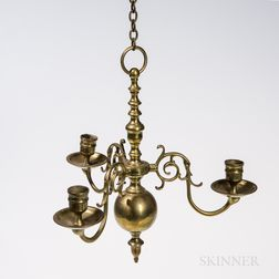 Small Three-light Brass Chandelier