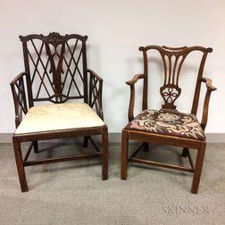 Two George III Elmwood Armchairs