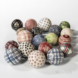 Nineteen Ceramic Carpet Balls