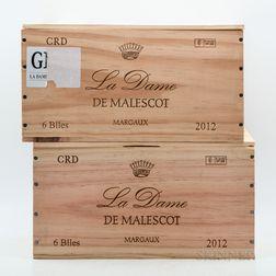 Dame de Malescot 2012, 12 bottles (2 x owc)