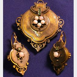 Victorian 14kt Gold and Opal Brooch and Earrings