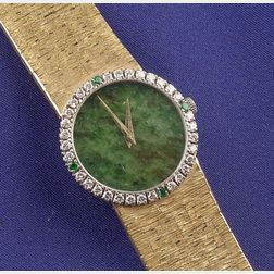 Lady's 18kt Gold, Jade and Gem-set Wristwatch, Piaget