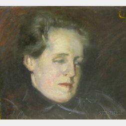 Framed Oil on Canvas Portrait Study of a Woman by Frederick Trapp Friis   (American, 1865-1909)