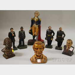 Eight Painted Cast Iron Historical Figural Doorstops