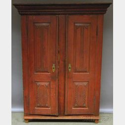 Red and Black-painted Carved Pine Wardrobe Cabinet with Two Paneled Doors
