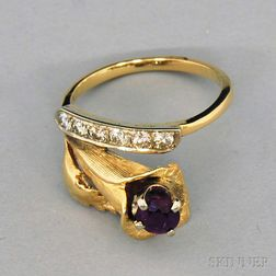14kt Gold, Diamond, and Ruby Bypass-style Floral Ring