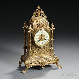 French Renaissance Revival Brass Mantel Clock
