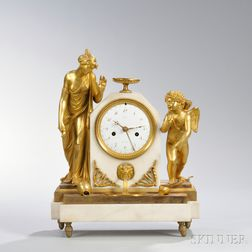 Lepine Gilt and Marble Figural Mantel Clock
