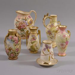 Six Royal Bonn Ceramic Floral-decorated Vases and Pitcher