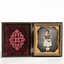 Sixth-plate Daguerreotype of a Little Girl Standing and Holding a Book