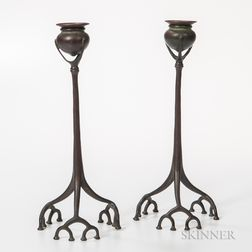 Pair of Tiffany Studios Bronze Root Candlesticks