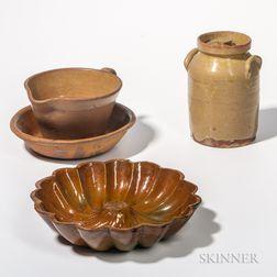 Four Glazed Redware Items