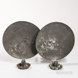 Pair of Round Tin Candle Sconces