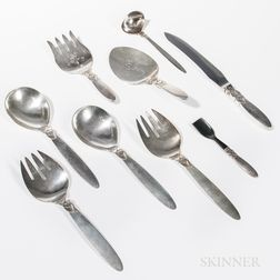 "Nine Georg Jensen ""Cactus"" Pattern Sterling Silver Serving Pieces"
