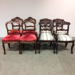 Eight Rococo Revival Carved and Upholstered Mahogany Side Chairs