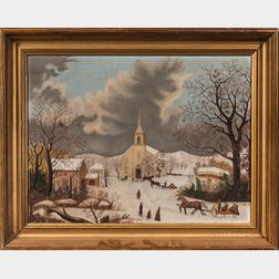 American School, Mid-19th Century      New England Winter Townscape