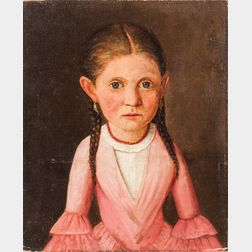 American School, 19th Century      Portrait of a Girl in Pink with Braided Hair