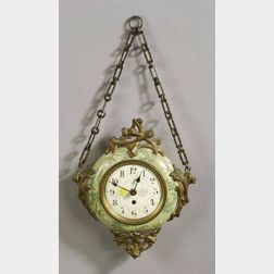 French Art Nouveau Earthenware and Ormolu Mounted Wall Timepiece