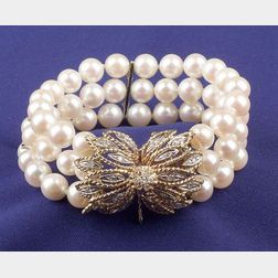 14kt Gold, Cultured Pearl, and Diamond Multistrand Bracelet