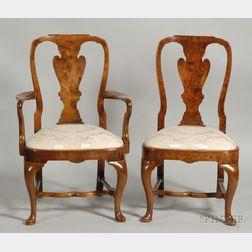 Set of Ten Queen Anne Style Burl Walnut Veneered Dining Chairs