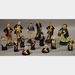 Fifteen Royal Doulton Ceramic Dickens Figures and Busts