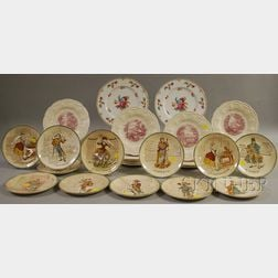 Set of Twelve French Transfer-decorated Ceramic Plates, a Set of Ten Wedgwood Queens Ware Plates, and a Pair of Noritake Dresdoll P...