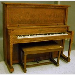 Kohler & Campbell Arts & Crafts Oak Upright Piano with Bench.