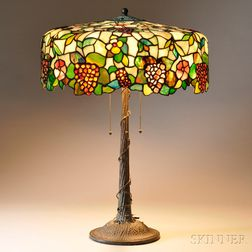 """Large Mosaic Glass """"Grape"""" Table Lamp Attributed to Morgan & Sons"""