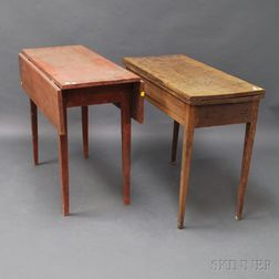 Country Federal Birch Card Table and a Red-painted Drop-leaf Table