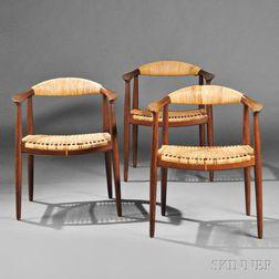 Three Hans Wegner (1914-2007) Round Armchairs