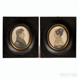 Demarest (act. New Jersey or Maryland, c. 1820-25)      Portrait Miniatures of a Husband and Wife