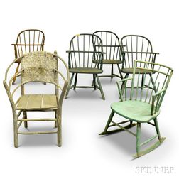Six Mostly Sack-back Windsor Armchairs