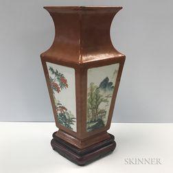 Gilt-speckled Brown Four-sided Vase
