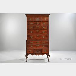 Red-washed Carved Birch Chest-on-chest